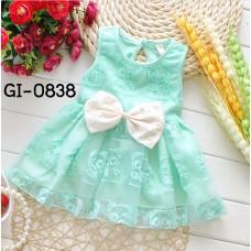 GI0838X << สินค้ามีตำหนิ >> ชุดเดรสสั้นเด็กผู้หญิง ออกงาน แขนกุด ติดโบว์แต่งไข่มุกสีครีม ปักลายทานูกิ สีเขียว (2ชิ้น) S.95