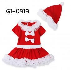 GI0919 ชุดเดรสแฟนซีเด็กผู้หญิง ซานตี้แขนสั้น ติดโบว์คู่ พร้อมหมวก ฉลองคริสมาสต์ (2ชิ้น)