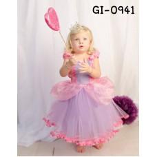 GI0941 เดรสเด็กผู้หญิงออกงาน แนวแฟนซีเจ้าหญิงโซเฟีย สีชมพูและสีม่วง S.150