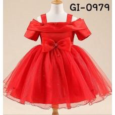 GI0979 ชุดราตรีเด็กผู้หญิงออกงาน สายเดี่ยวที่บ่าเปิดไหล่ แต่งไม้เล็กๆ ติดโบว์ สีแดง