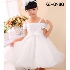 GI0980 ชุดราตรีเด็กผู้หญิงออกงาน สายเดี่ยวที่บ่าเปิดไหล่ แต่งไม้เล็กๆ ติดโบว์ สีขาว