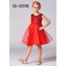 GI1013S ชุดราตรีเด็กผู้หญิงใส่ออกงานแขนกุดช่วงบนปักเลื่อม แต่งดอกไม้ที่เอว สีแดง