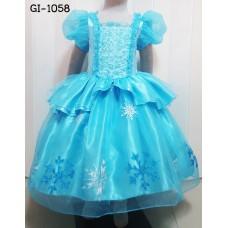 GI1058 ชุดราตรีเด็กผู้หญิงแนวเจ้าหญิง คอเหลี่ยมแต่งดอกกุหลาบ สีฟ้า
