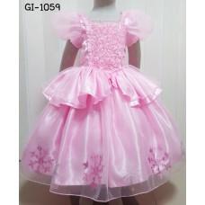 GI1059 ชุดราตรีเด็กผู้หญิงแนวเจ้าหญิง คอเหลี่ยมแต่งดอกกุหลาบ สีชมพู S.160