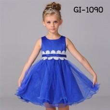 GI1090 ชุดราตรีเด็กผู้หญิง ใส่ออกงาน แขนกุด แต่งลูกไม้รอบเอว คาดโบว์สีน้ำเงิน