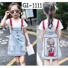 GI1111 เอี๊ยมกระโปรงยีนส์ เด็กผู้หญิง ด้านหน้าผักลายผู้หญิงยืนอุ้มแมวหันหลัง แต่งคริสตัล (3ชิ้น)