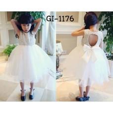 GI1176 ชุดเดรสเด็กผู้หญิงใส่ออกงานแขนกุด ช่วงบนผ้าลูกไม้ เปิดหลังรูปหัวใจ ติดโบว์ สีขาวทั้งตัว (2ชิ้น) S.110