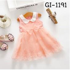 GI1191X << สินค้ามีตำหนิ >> ชุดเดรสเด็กผู้หญิง ออกงาน แขนกุดคอบัวสีขาว ติดโบว์ ปักลายดอกไม้ สีโอรส S.110