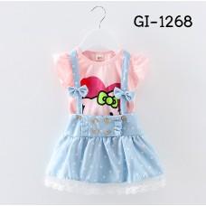 GI1268X << สินค้ามีตำหนิ >> ชุดเด็กผู้หญิง เสื้อคอกลมลายคิตตี้สีชมพู + เอี๊ยมกระโปรงยีนส์ (2ชิ้น) S.100