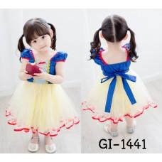 GI1441 ชุดเจ้าหญิงสโนไวท์ เสื้อแขนตุ๊กตาสีน้ำเงินเข้ม กระโปรงบานฟูฟ่องสีเหลืองอ่อน