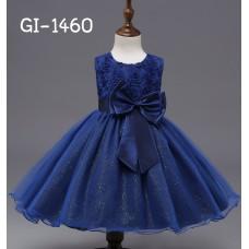 GI1460 ชุดราตรีเด็กผู้หญิง ใส่ออกงาน แขนกุด แต่งกุหลาบช่วงบน ติดโบว์ที่เอว สีน้ำเงินเข้ม