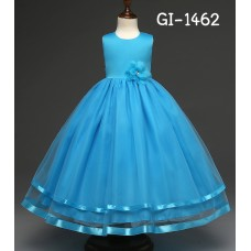 GI1462X << สินค้ามีตำหนิ >> ชุดราตรีเด็กผู้หญิง เด็กโต แขนกุดแบบเรียบหรู แต่งชายกระโปรงด้วยริบบิ้น สีฟ้า S.150