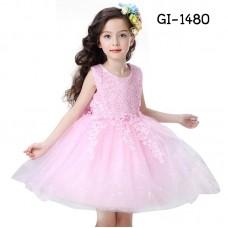 GI1480 ชุดราตรีเด็กผู้หญิง แขนกุดช่วงบนแต่งผ้าลูกไม้ ห้อยระย้าลงมาช่วงสะโพก สีชมพู