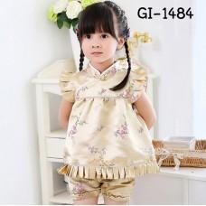 GI1484 ชุดจีนสาวหมวยกี่เพ้า + กางเกงขาจั๊ม ลายดอกเหมยสีทอง ฉลองตรุษจีน (2ชิ้น) S.70