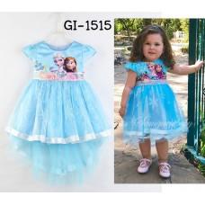 GI1515 ชุดเจ้าหญิงเด็ก Frozen หน้าสั้นหลังยาวสีฟ้า