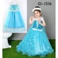 GI1516 ชุดเจ้าหญิงเด็ก สายเดี่ยวแต่งเลื่อมที่อก สีฟ้า