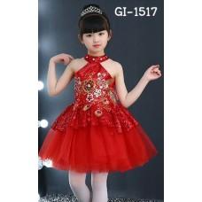 GI1517 ชุดงานแสดงเด็กผู้หญิง ปิดคอแขนเว้า แต่งเลื่อมสีแดง