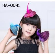 HA0091 กิ๊บติดผมเด็กผู้หญิง หมวกผู้ดีอังกฤษสุดหรู แต่งขนนก โบว์และเกสรดอกกุหลาบ มี 6 สี