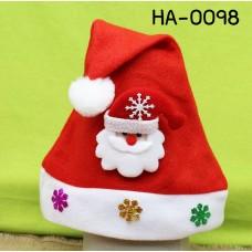 HA0098 หมวกซานตาครอสเด็ก สีแดง ฉลองคริสมาสต์ (เลือกลาย)