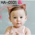 HA0101 ผ้าคาดผมเด็กผู้หญิง หูแมวเหมียวตั้ง สีโอรส