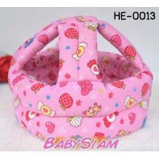 HE0013 หมวกกันน๊อคเด็ก หมวกกันกระแทกเด็ก สีชมพูลายลูกกวาด (40-53cm)