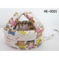 HE0021 หมวกกันน็อคเด็ก หมวกกันกระแทกเด็ก สีขาวลายหมี (45-60cm)