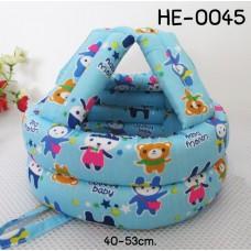 HE0045 หมวกกันน๊อคเด็ก หมวกกันกระแทกเด็ก สีฟ้าลายหมีกระต่าย (40-53cm)