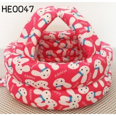HE0047 หมวกกันน๊อคเด็ก หมวกกันกระแทกเด็ก สีชมพูเข้มลายกระต่ายหน้าขาว (40-53cm)