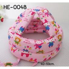 HE0048 หมวกกันน๊อคเด็ก หมวกกันกระแทกเด็ก สีชมพูลายหมีกระต่าย (40-53cm)