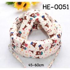 HE0051 หมวกกันน็อคเด็ก หมวกกันกระแทกเด็ก สีเบจลายหมีน้ำตาล (45-60cm)