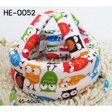 HE0052 หมวกกันน็อคเด็ก หมวกกันกระแทกเด็ก สีครีมลายนกฮูก (45-60cm)