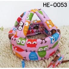 HE0053 หมวกกันน็อคเด็ก หมวกกันกระแทกเด็ก สีชมพูลายนกฮูก (40-53cm)