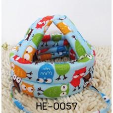 HE0057 หมวกกันน็อคเด็ก หมวกกันกระแทกเด็ก สีฟ้าลายนกฮูก (45-60cm)