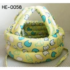 HE0058 หมวกกันน็อคเด็ก หมวกกันกระแทกเด็ก สีเหลืองลายปลาและแมว (40-53cm)