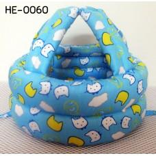 HE0060 หมวกกันน็อคเด็ก หมวกกันกระแทกเด็ก สีฟ้าลายปลาและแมว (40-53cm)
