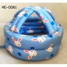 HE0061 หมวกกันน็อคเด็ก หมวกกันกระแทกเด็ก สีฟ้าลายจุดและกระต่าย (40-53cm)