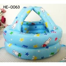 HE0063 หมวกกันน็อคเด็ก หมวกกันกระแทกเด็ก สีฟ้าลายดาวและกระต่าย (40-53cm)