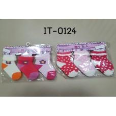 it0124 ถุงเท้าเด็กเล็ก 0-6 เดือน แพ็ค 3 คู่ เด็กหญิง (เลือกลาย)