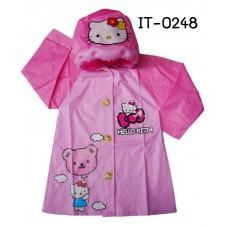 IT0248 เสื้อกันฝนเด็ก พร้อมฮู้ดเป่าลม แขนยาว ลายคิตตี้ สีชมพู S.110