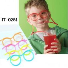 IT0251 หลอดดูดน้ำแว่นตาปาร์ตี้ (เลือกสี)