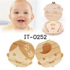 IT0252 กล่องไม้เก็บฟันน้ำนมเด็ก ด้านในเป็นภาษาอังกฤษ เพศหญิง
