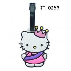 IT0265 ป้ายชื่อห้อยกระเป๋า ยางปั้มนูน ลายเจ้าหญิงคิตตี้สวมมงกุฎ