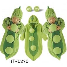 IT0270 ถุงนอนเด็กแบบซิปหน้า แบบหนา ลายถั่วลันเตา สีเขียว S.80