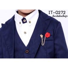 IT0272 เข็มกลัดติดปกเสื้อสูทเด็ก มีมงกุฎสีทองและดอกกุหลาบสีแดง