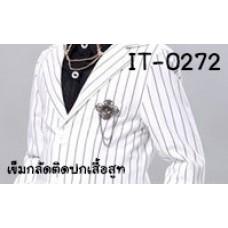 IT0272D เข็มกลัดติดปกเสื้อสูทเด็ก ลายดอกไม้4กลีบเกสรสีนิล