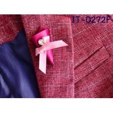 IT0272F เข็มกลัดติดปกเสื้อสูทเด็ก ทรงช่อดวกไม้ติดโบว์และเพชร
