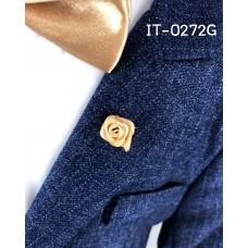 IT0272G เข็มกลัดติดปกเสื้อสูทเด็ก ลายดอกกุหลาบจิ๋ว สีแชมเปญ