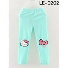 LE0202 กางเกงเลคกิ้งเด็กผู้หญิง ขายาว สกรีนคิตตี้ และโบว์ที่เข่า สีฟ้า S.100/110