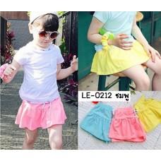 LE0212 กางเกงกระโปรงสั้น เด็กผู้หญิง เอวรูด สีชมพูอ่อน เรียบๆ S.110