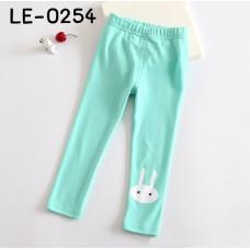LE0254 กางเกงเลคกิ้งเด็กผู้หญิง ขายาว สกรีนหน้ากระต่ายสีขาวที่ปลายขา สีเขียว S.100